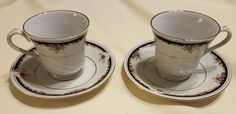 Set of 2 Bennington by Lynn's China Tea Cups and Saucer FREE SHIPPING