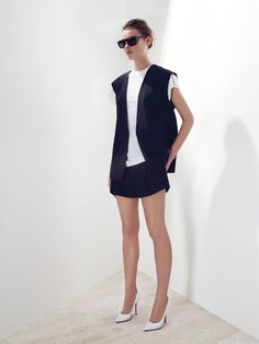 tuxedo vest, poplin/ jersey loose tank, wool shorts, bassike sunglasses square wrap,