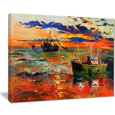 """East Urban Home 'Colorful Fishing Ships' Oil Painting Print on Canvas Size: 20 """" W x 12 """" H"""