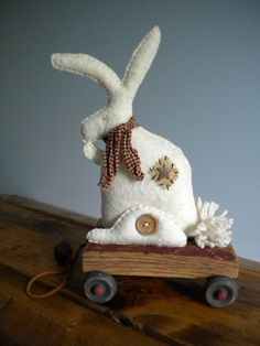 RABBIT - BUNNY Pull Toy - Primitive Folkart - Vintage Style Reproduction Toy - Handsewn - EMMA