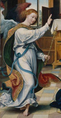 Joos van Cleve - The Annunciation. Detail. 1525  Angel Gabriel