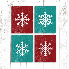 Christmas Decor Snowflake Art Holiday Art by MooseberryPrintables, $20.00  I love the colors!!!!!