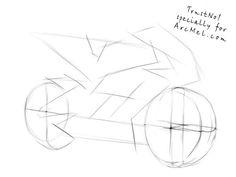 How to draw a motorbike step 2