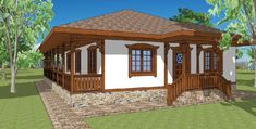 Case cu veranda din lemn in fata Yard Design, House Design, Economic Efficiency, Work Abroad, Aesthetic Value, Traditional House, Countryside, Gazebo, Outdoor Structures