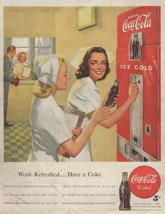 """I love this ad, but unfortunately it is in very bad condition. 1948, beautiful nurses take """"the pause that refreshes""""."""