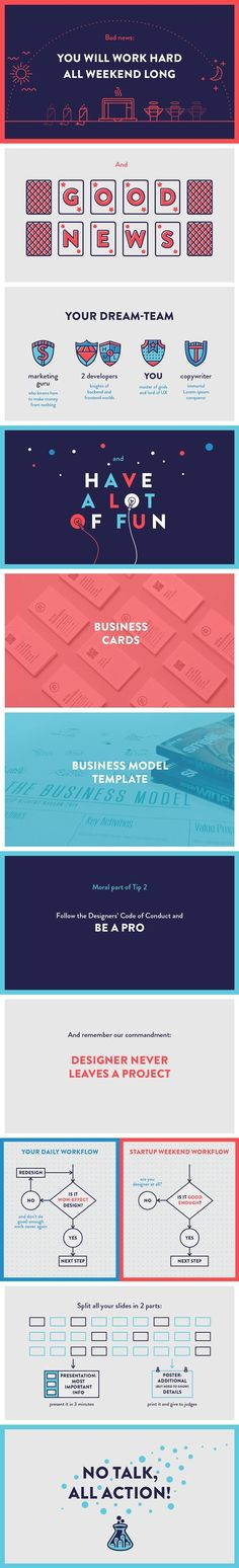 The Designers Guide to Startup Weekend, PowerPoint presentation design by Iryna Nezhynska, via Behance. I love the simple colors and flat shapes, with the plays on typography and infographic design. #infographics