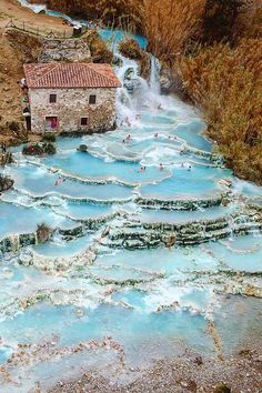 Relaxing at awesome 'Mill waterfalls' ~ Saturnia, Tuscany, Italy Photo by - Urlaub - Nature Dream Vacations, Vacation Spots, Italy Vacation, Italy Trip, Tourist Spots, Destination Voyage, Adventure Is Out There, Adventure Couple, Italy Travel