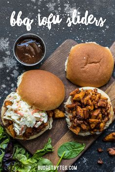 BBQ Tofu Sliders are an easy and inexpensive alternative to pulled meat sandwiches. With a simple and uncomplicated ingredient list, this is a tofu dish anyone can master! Tofu Recipes, Dinner Recipes, Cooking Recipes, Healthy Recipes, Healthy Meals, Cooking Tips, Dinner Ideas, Chicken Recipes, Vegan Vegetarian
