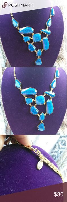 "Amrita Singh Heidi bib necklace Amrita Singh Heidi bib necklace Gold-tone brass bib necklace with different shape resin stones. Material: Gold-tone brass, Lapis Resin Necklace Closure: Lobster Measurements: 16-20"" adjustable. Bib 5.5"" x 4"" Amrita Singh Heidi bib necklace Jewelry Necklaces"