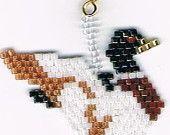 Hand Beaded Mallard Duck taking off  Dangling earring  number 219