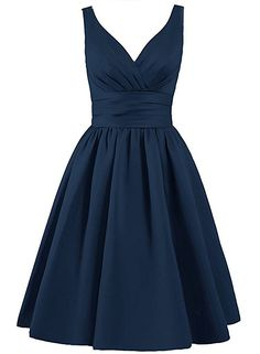 Oumans Short Bridesmaid Dress Satin Prom Dress V Neck Ruched Evening Party Gown at Amazon Women's Clothing store: