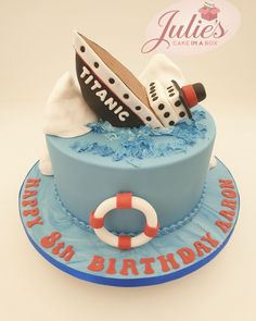Image may contain: food Titanic Cake, Themed Birthday Cakes, Themed Cakes, 7th Birthday, Caravan Cake, Digger Cake, Different Types Of Cakes, Present Cake, Fondant Cakes