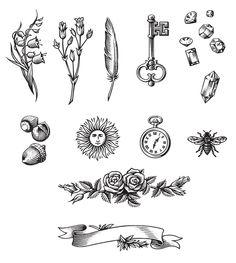 various scratchboard illustrations VOL. 2 on Behance Vintage Key Tattoos, Vintage Tattoo Sleeve, Sleeve Tattoos, Tattoo Flash Art, Tatoo Art, Black Ink Tattoos, Small Tattoos, Victorian Tattoo, Clock Tattoo Design