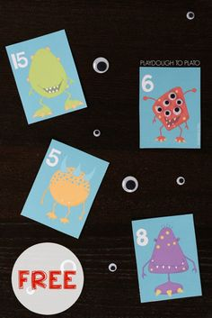 How To Produce Elementary School Much More Enjoyment Free Monster Counting Cards. Such A Motivating Number Recognition And Counting Activity. My Son Loved These Kindergarten Math, Fun Math, Math Games, Preschool Activities, Free Preschool, Kindergarten Worksheets, Maths, Monster Activities, Counting Activities