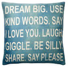 """Dream Big"" 20x20 Pillow, Teal | Pillow Talk | One Kings Lane"