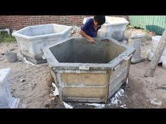 Process production hexagonal pots edge 120cm - YouTube Cement Flower Pots, Cement Art, Concrete Pots, Planters, Colonial, Outdoor Decor, Youtube, Model, Craft