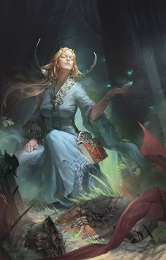 The sorceress after combat, back in touch with the spirit that guides her.