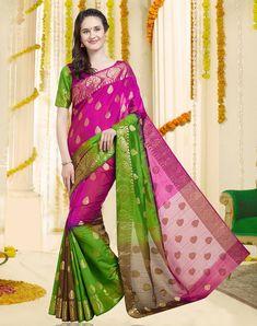 5a3fed5ed8c193 Buy Dark Pink   Green Color Banarasi Silk Saree With Blouse Piece Online