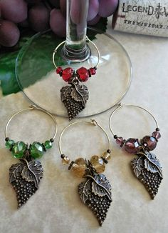 Antique Bronze Vintage Grape Wine Charms Set of 4 #Handcrafted #ohsewcute