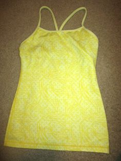 LULULEMON Power Y Paisley Yellow Tank Top 2