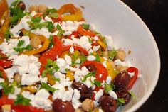 Mediterranean Peppers and Olives Salad Recipe - 5 Points + . I loved it, a few liked it and Amanda (who doesn't like peppers) disliked it. Time consuming to cut all the sweet peppers,,,this will be a once-a-year thing. Ww Recipes, Great Recipes, Salad Recipes, Cooking Recipes, Favorite Recipes, Healthy Recipes, Amazing Recipes, Picnic Recipes, Skinny Recipes