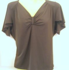 ANNE KLEIN SPORT Rayon Brown Blouse Top Bowknot in center Cap sleeves #AnneKleinSport #PullonTopBlouse #Casual
