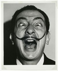 Portrait of Spanish surrealist artist Salvador Dali - Black And White Painting, Black And White Portraits, Black And White Photography, Salvador Dali Photography, Portrait Art, Portrait Photography, Salvador Dali Art, Silly Faces, Face Expressions