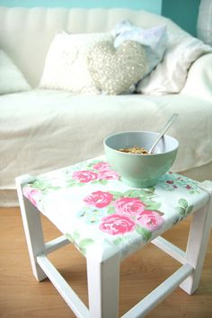 Before and After   Stool Make over with Cath Kidston Fabric and Paint
