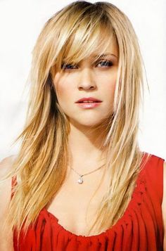 Reese Witherspoon Hair- I want my bangs to blend into my long hair like this...