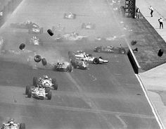 The start of the 1966 Indianapolis 500.  A. J. Foyt suffered the only injury, scratching his finger climbing the fence to get out of the way.
