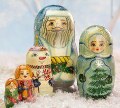 Blue Santa Russian Nesting Dolls