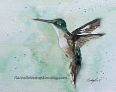 Blue Kitchen Art Painting of Hummingbird /Aqua teal  Hummingbird art print Hummingbird PRINT SET/ Hummingbird Painting Two bird prints 8 x10. $28.00, via Etsy.