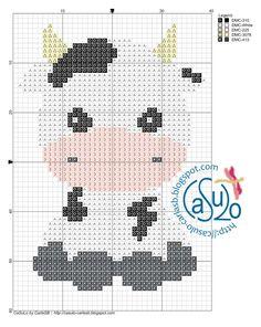 Cross Stitch Cow, Free Cross Stitch Charts, Simple Cross Stitch, Cross Stitch Animals, Counted Cross Stitch Patterns, Cross Stitch Embroidery, Pixel Crochet Blanket, Crochet Wall Hangings, Plastic Canvas Stitches