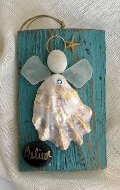 Excited to share the latest addition to my shop: Angel ornament Driftwood angel/seaglass angel/shell angel/faith angel/ faith shell crafts Beach Crafts, Fun Crafts, Arts And Crafts, Sea Glass Crafts, Sea Glass Art, Crafts With Seashells, Seashell Crafts Kids, Sea Glass Decor, Seashell Projects