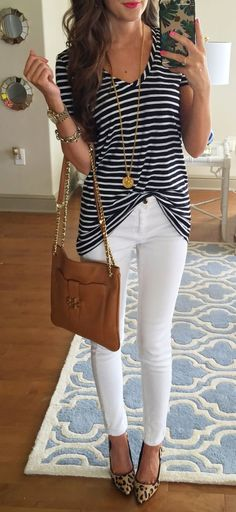 I have everything to re-create this cute outfit idea, so I think I will! I love stripes and leopard print together. Really chic.