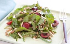 Cherries and almonds are a classic pair and make a delicious salad combination with tart arugula and fragrant tarragon.