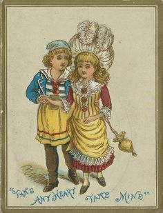 "For color reference: illustration depicting Harry Trebbutt as Frederic and Elsie Joel as Mabel from a souvenir program for D'Oyly Carte's Children's Opera Company production of ""The Pirates of Penzance"", 1884 Christmas season at the Savoy Theater."