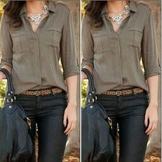 2015 Women Army Green Shirt Sexy Fashion Loose Shirt Casual Shirt Clothes Blouse Blusas feminina camisas ropa mujer
