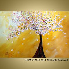CHERRY TREE 36x24 Large Giclee Stretched Canvas Modern Abstract Landscape from Original Painting by Luiza Vizoli. $149.00, via Etsy.