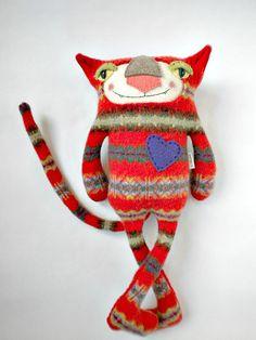 Orange Striped Cat Stuffed Animal from Wool by sweetpoppycat