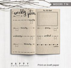 Printable Travelers Notebook Weekly Planner PDF file.  DOWNLOAD INCLUDES:  1) 8.5 x 11 (Letter) PDF file 2) A4 PDF file  Weekly planner Size: 110mm x 210mm (4.33 x 8.25) - folded  HOW TO DOWNLOAD: Once you purchase a download, it is available to you instantly. Please go to your purchases and reviews section under the You tab at the top right corner to download the file. Youll also get an email with a download link.  HOW IT WORKS: 1. Purchase and download the file. 2. Open the PDF file in…