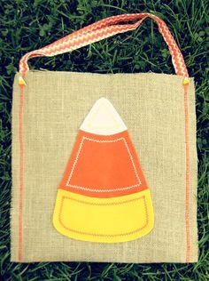 Candy Corn Trick or Treat Burlap Halloween Bag - Cute!