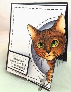 Copics:  YG21 25 67 Colored Pencil (prismacolor) 944 1032 946 997 947 935  P243 Feline Curious SSC1213 Life Words
