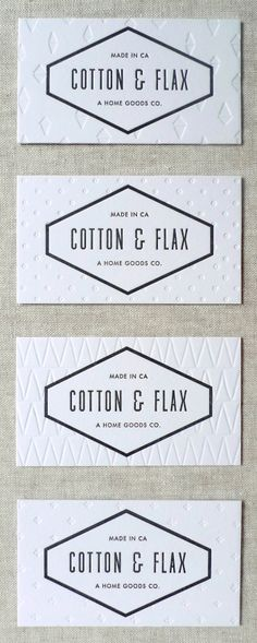 letterpress business cards for Cotton & Flax designed by Laura Carignan of Lulu Dee. via Cotton & Flax Logo Design, Graphic Design Branding, Typography Design, Design Cars, Vector Design, Design Design, Interior Design, Corporate Design, Business Card Design