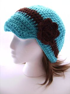 Crochet Beanie Cap With Visor and Flower Accent Aqua Blue and Brown