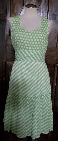 baeba987b35 Anthropologie Snak Retro Pastel Green White Stripe Polka Dot Dress Sz 12  NWT  98