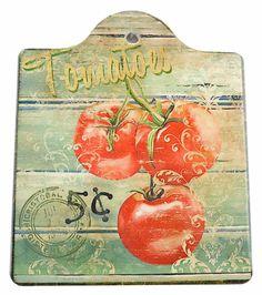 Ceramic Cheeseboard w/ Cork Backing: Tomatoes