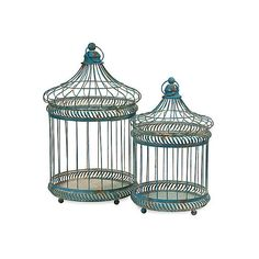 Asst. of 2 Birdcages Blue Birdcages (110 AUD) ❤ liked on Polyvore featuring home, home decor, decor, birdcages, birds, blue, decorative accessories, blue home decor, bird home decor and rustic home decor