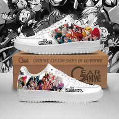 My Hero Academia Air Force Shoes Hero Team Vs Villian Team PT10 Anime Inspired Outfits, Anime Outfits, Cool Outfits, Air Force Shoes, Air Force Sneakers, My Hero Academia Merchandise, Nike Shoes, Sneakers Nike, Shoe Art