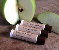 Crunchy, tart yet sweet green apples magically (well, almost magically) changed into a lip balm form.  Green Apple Lip Balm-Sweetened by GingerandWaldo for $3.00